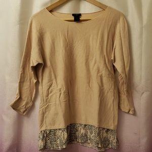 Ann Taylor nude blush peach leopard print blouse